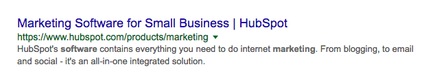 Positive Example of Title Tag SERP Hubspot